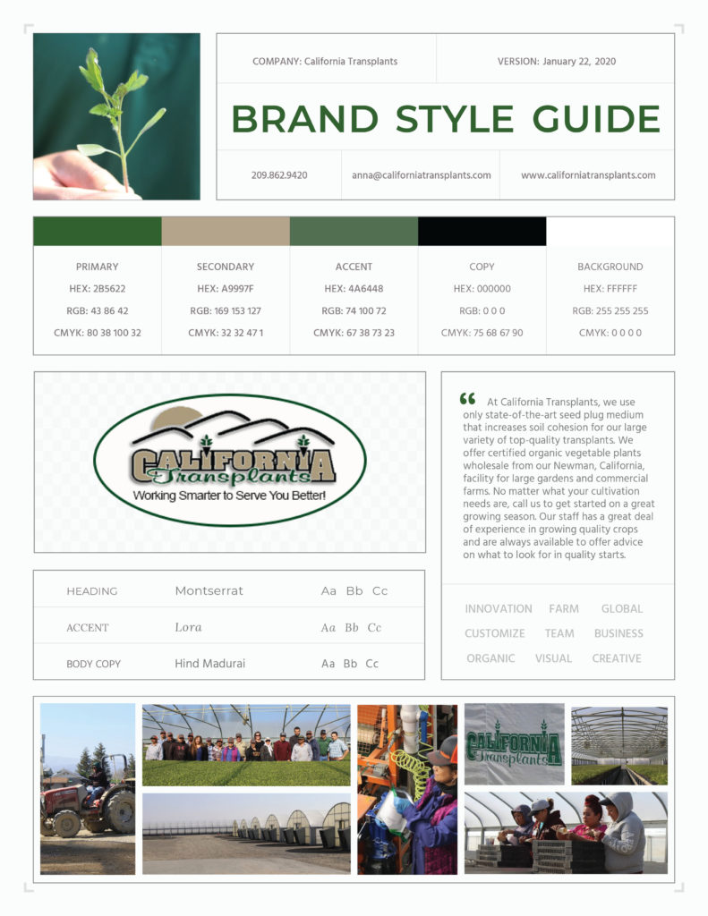 California Transplants One Page Branding Style Guide